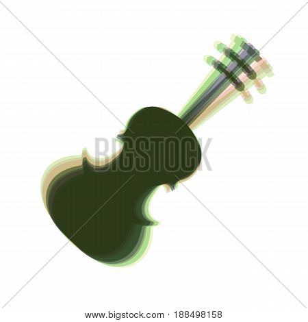 Violin sign illustration. Vector. Colorful icon shaked with vertical axis at white background. Isolated.