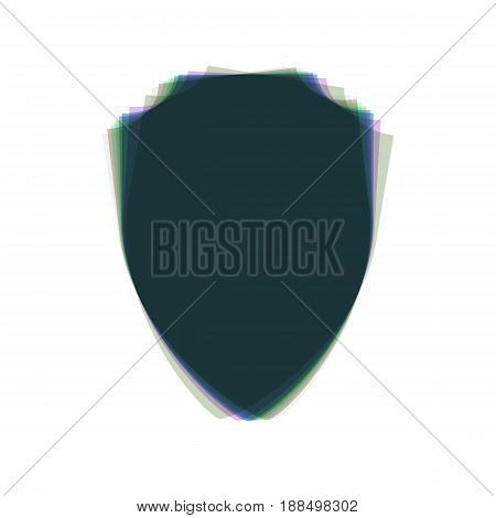 Shield sign illustration. Vector. Colorful icon shaked with vertical axis at white background. Isolated.