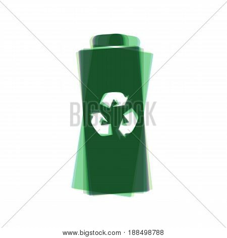 Battery recycle sign illustration. Vector. Colorful icon shaked with vertical axis at white background. Isolated.