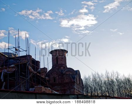 The unfinished Orthodox Church in Moscow, the South-Western suburbs