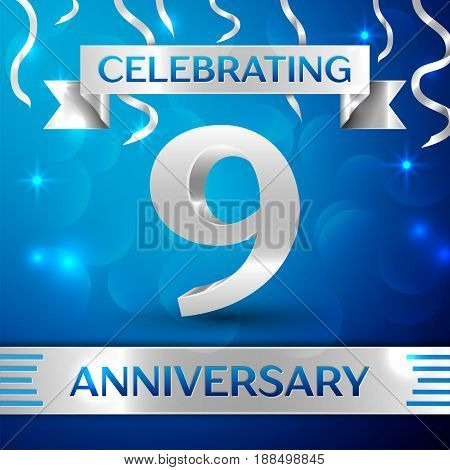 Nine Years Anniversary Celebration Design. Confetti and silver ribbon on blue background. Colorful Vector template elements for your birthday party. Anniversary ribbon