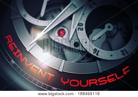 Reinvent Yourself - Inscription on Automatic Pocket Watch with Visible Mechanism, Clockwork Close-Up. Luxury, Mens Vintage Accessory. Time Concept. 3D.