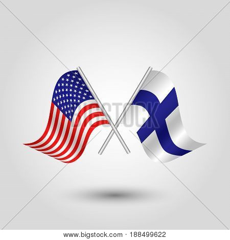 vector two crossed american and finnish flags on silver sticks - symbol of united states of america and finland