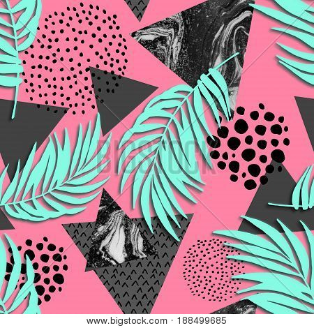 Abstract grunge triangle and exotic paper leaves seamless pattern. Triangles with palm leaf cut out doodle grunge textures. Geometric background in retro colors. Summer art illustration