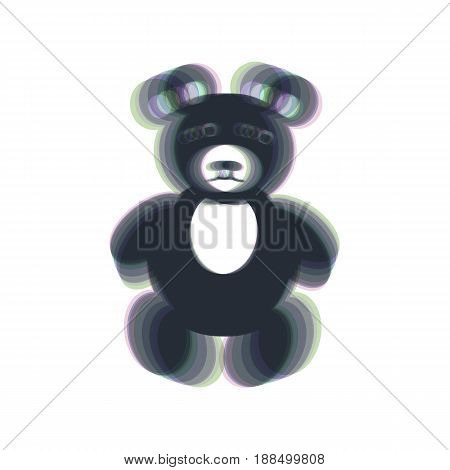 Teddy bear sign illustration. Vector. Colorful icon shaked with vertical axis at white background. Isolated.