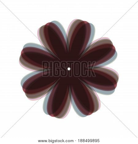 Flower sign illustration. Vector. Colorful icon shaked with vertical axis at white background. Isolated.