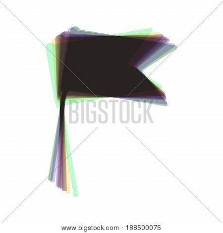 Flag sign illustration. Vector. Colorful icon shaked with vertical axis at white background. Isolated.