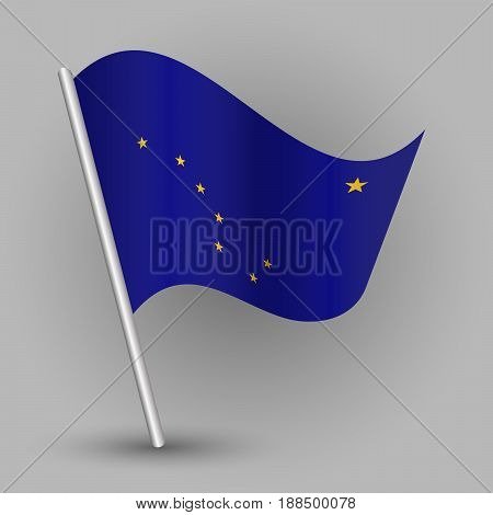 vector waving simple triangle american state flag on slanted silver pole - icon of alaska with metal stick