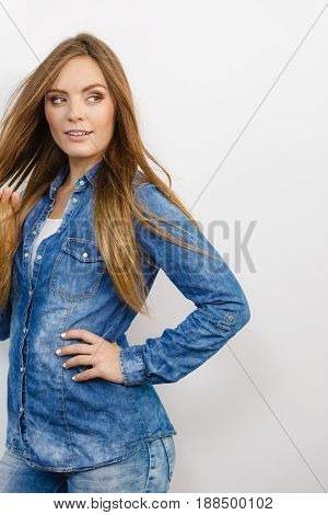 Lady Is Wearing Jeans.