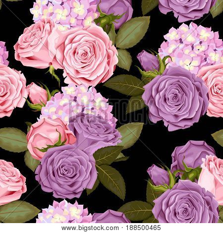 Beautiful roses and hydrangea vector seamless background