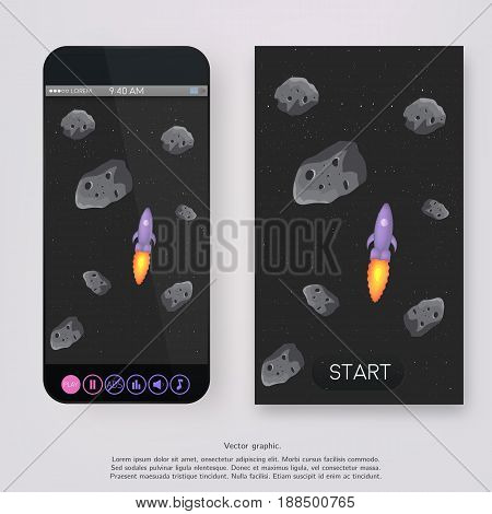 Game design - space landscape, with asteroids stone and Rocket. Button play, pause, achievements, background music, sound. UI for game mobile.