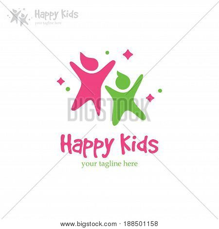 Colorful logo with two happy kids. Abstract boy and girl symbol. Perfect for kindergarten, preschool, playground, children education or shop design concept.
