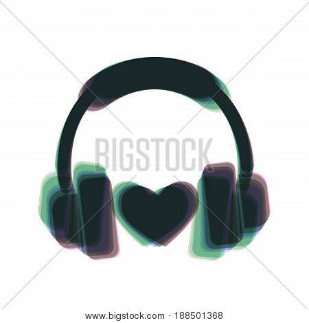 Headphones with heart. Vector. Colorful icon shaked with vertical axis at white background. Isolated.