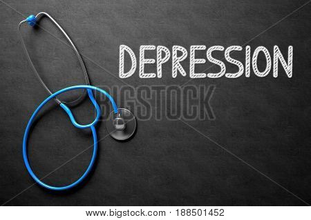 Medical Concept: Depression - Text on Black Chalkboard with Blue Stethoscope. Medical Concept: Depression Handwritten on Black Chalkboard. Top View of Blue Stethoscope on Chalkboard. 3D Rendering.
