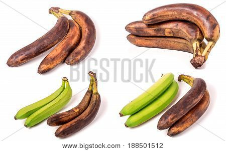 Unripe and overripe bananas isolated on white background. Set or collection.