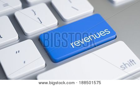 High Quality Render of a Computer Keyboard Key. The Button is Blue in Color and there is Text Revenues on It. Metallic Keyboard with Revenues Blue Button. 3D Render.