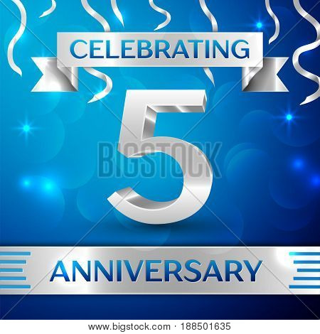 Five Years Anniversary Celebration Design. Confetti and silver ribbon on blue background. Colorful Vector template elements for your birthday party. Anniversary ribbon