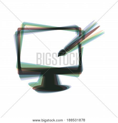 Monitor with brush sign. Vector. Colorful icon shaked with vertical axis at white background. Isolated.