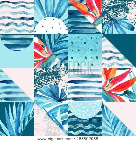 Abstract squares and triangles seamless pattern. Watercolor geometric and floral background in patchwork style. Water color grunge textures in square triangle shape. Hand painted summer illustration
