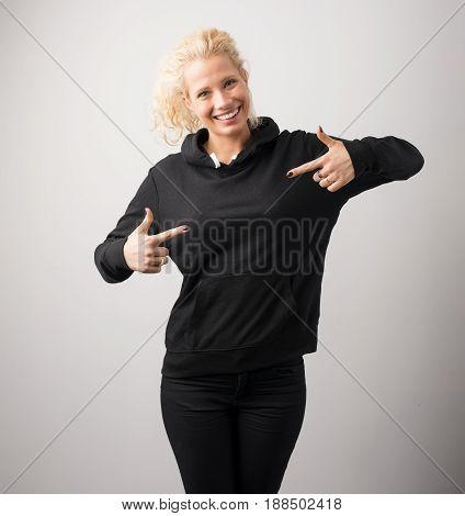Woman in black hoodie template for your own design