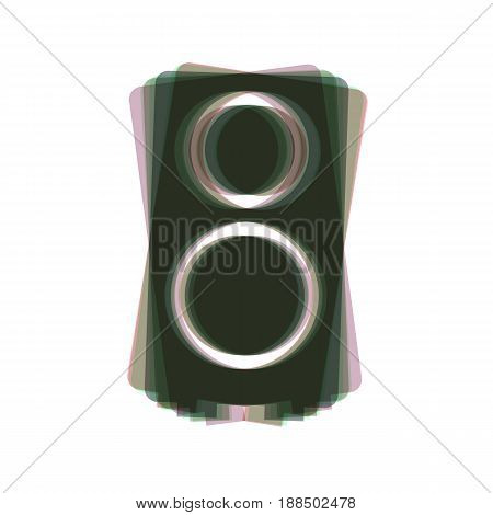 Speaker sign illustration. Vector. Colorful icon shaked with vertical axis at white background. Isolated.