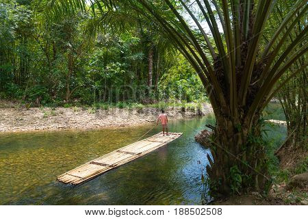 Bamboo Raft On Green Tropical River