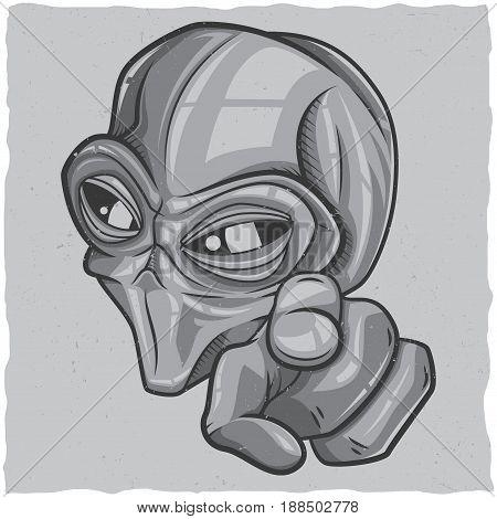 UFO t-shirt label design with illustration of alien