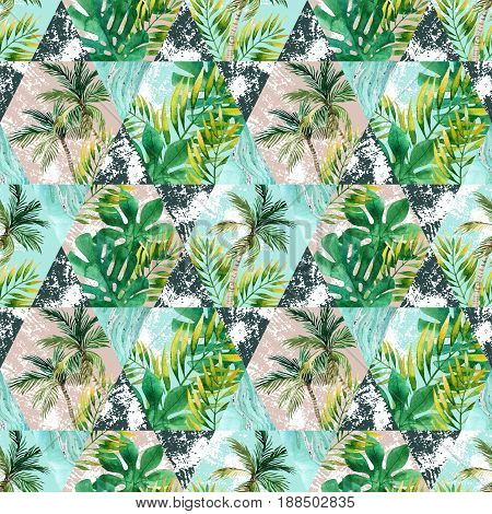 Watercolor tropical leaves and palm trees in geometric shapes seamless pattern. Hexagon and triangle with water color marbling paper grunge textures. Hand painted abstract tropic illustration