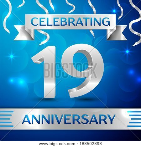 Nineteen Years Anniversary Celebration Design. Confetti and silver ribbon on blue background. Colorful Vector template elements for your birthday party. Anniversary ribbon
