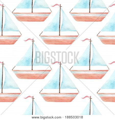Simple watercolor toy sail boat seamless pattern. Sailboat row background in marine style. Hand painted nautical illustration