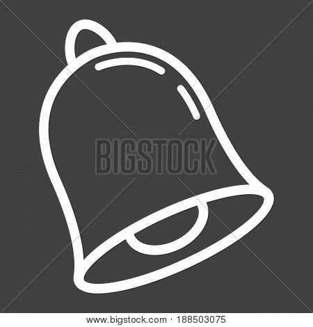 School bell line icon, ring and school, vector graphics, a linear pattern on a black background, eps 10.