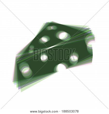 Cheese Maasdam sign. Vector. Colorful icon shaked with vertical axis at white background. Isolated.