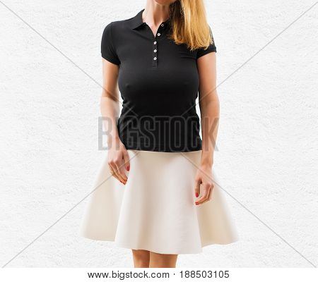 Woman's black polo shirt template standing on white background
