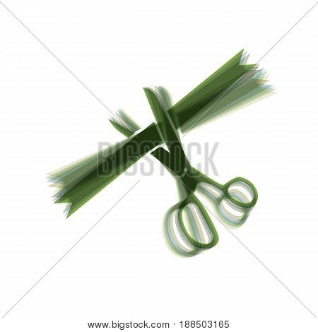 Ceremony ribbon cut sign. Vector. Colorful icon shaked with vertical axis at white background. Isolated.