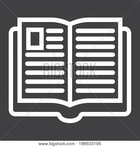 Open book line icon, Education and school, vector graphics, a linear pattern on a black background, eps 10.