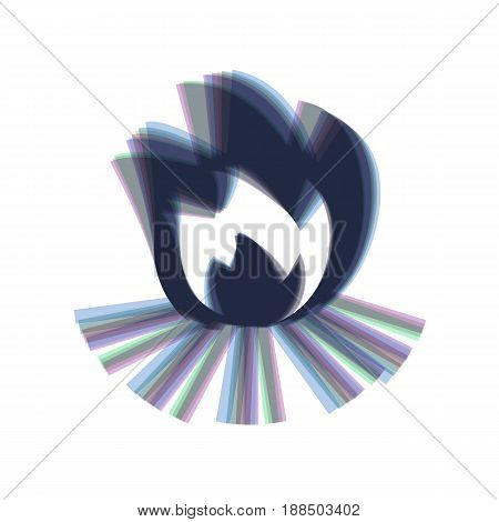 Fire sign. Vector. Colorful icon shaked with vertical axis at white background. Isolated.
