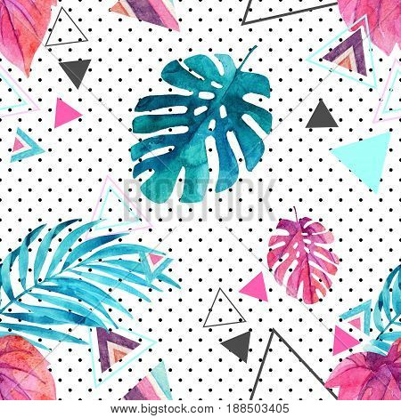 Abstract watercolor triangle and exotic leaves seamless pattern. Triangles (aztec ornament lines stripes water color textures) scattered with tropical leaves background. Hand painted illustration