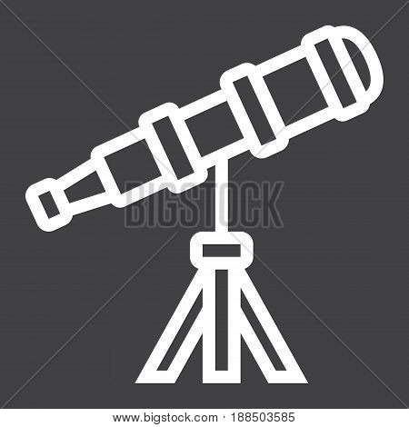 Telescope line icon, astronomy and science, vector graphics, a linear pattern on a black background, eps 10.
