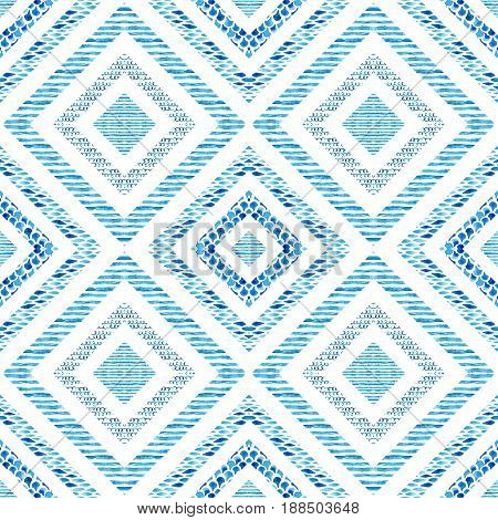 Diamond shapes with watercolor marine elements. Watercolor textured seamless pattern: wave stripe scrawl fish scale ornament. Symmetrical geometric background. Hand painted water color illustration