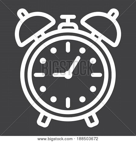 Alarm clock line icon, time and deadline, vector graphics, a linear pattern on a black background, eps 10.