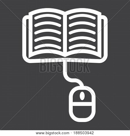Online learning line icon, education and internet, vector graphics, a linear pattern on a black background, eps 10.