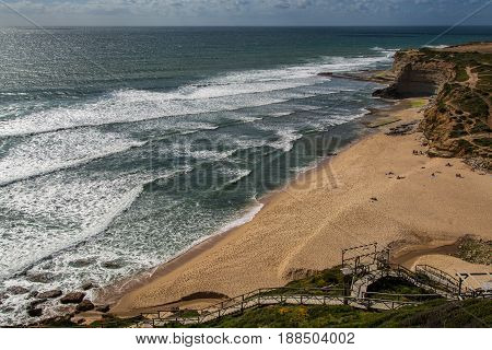 Ericeira Portugal. 18 May 2017.Ribeira de Ilhas in Ericeira.Ribeira de Ilhas beach is Part of the World Surfing Reserve and its right outside Ericeira Village. Ericeira Portugal. photography by Ricardo Rocha.