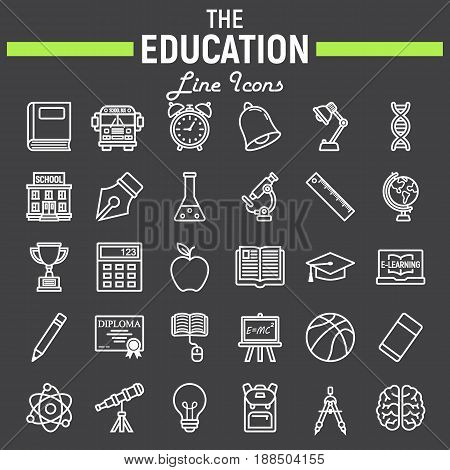 Education line icon set, school symbols collection, knowledge vector sketches, logo illustrations, linear pictograms package isolated on black background, eps 10.