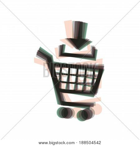 Add to Shopping cart sign. Vector. Colorful icon shaked with vertical axis at white background. Isolated.