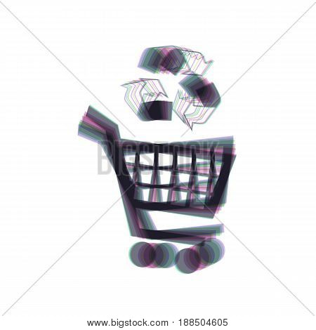 Shopping cart icon with a recycle sign. Vector. Colorful icon shaked with vertical axis at white background. Isolated.