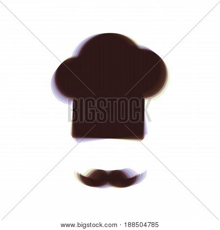 Chef hat and moustache sign. Vector. Colorful icon shaked with vertical axis at white background. Isolated.