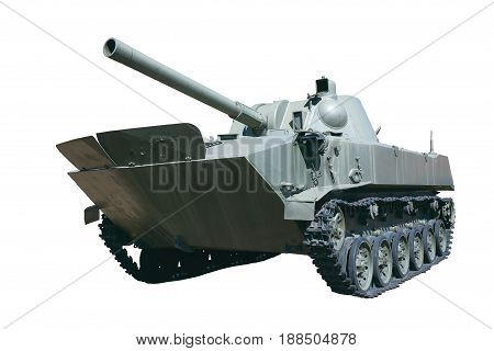 light armored tank isolated on white background