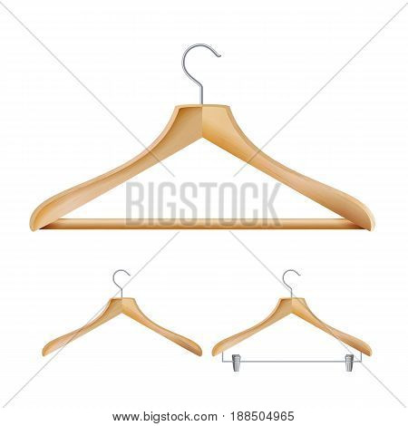 Wooden Clothes Hangers Vector. Illustration Of Classic Clothes Hanger Isolated