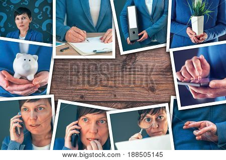 Woman in business and entrepreneurship photo collage over wooden office desk background