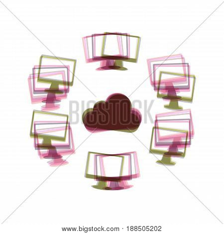 Computers nerk sign. Vector. Colorful icon shaked with vertical axis at white background. Isolated.